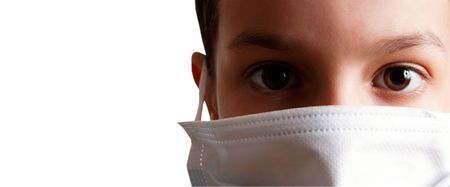 young boy with health mask for is protection again virus. White background Stockfoto
