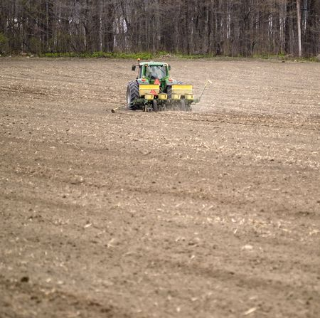 big tractor preparing the ground for agriculture. photo