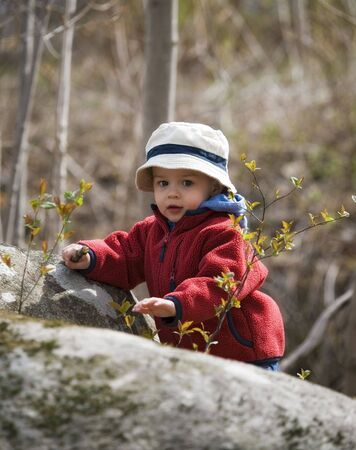 young boy pround to reach the top in nature Stock Photo - 4802623