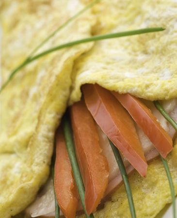 omelet macro photo with ham,herb and red sweet pepper Stock Photo - 5505499
