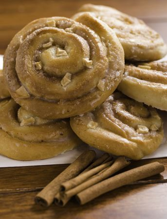 apple cinnamon sweet buns on a white napkin.Shallow depth of field. Stock Photo - 5706488