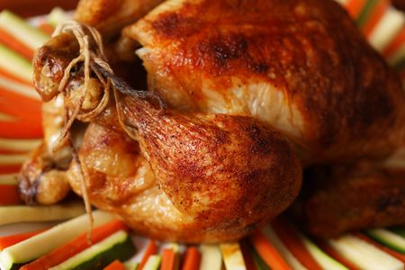 roasted chicken on a plate with vegetable. Very shallow depth of field. Stock Photo - 5927526
