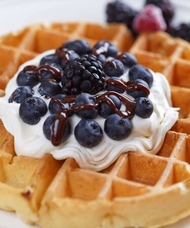homemade waffles on a white plate with fruit. Shallow depth of field.