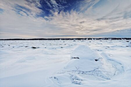winter scene with snow and beautiful cloudy sky. Large depth of field with hyperfocal use. Stock Photo - 6218365