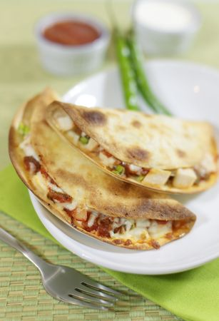 Quesadillas meal made with chicken meat, salsa sauce and melted cheese. Grilled pita and green background. Very shallow depth of field. photo