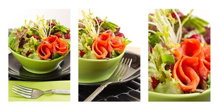 composition of fresh smoked salmon sockeye salad with lettuce and vegetable. Shallow depth of field. Stock Photo - 7819971