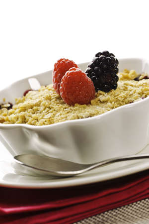Cobbler fruit desert with fresh rasberry and berry on the top. Stock Photo - 8238125