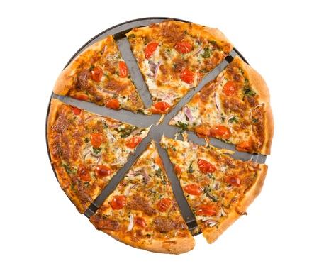 Sliced vegetable pizza isolated on white background.  Stock Photo - 8755116