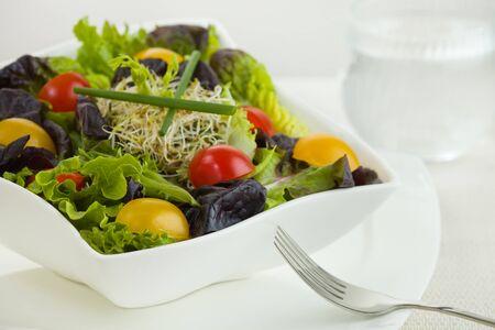 プレート: フォークとフィールドの浅い深さの水のガラスのボウルに白のミックス グリーン サラダの食事。 写真素材