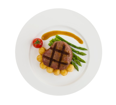 Tenderloin steak isolated on a white background.