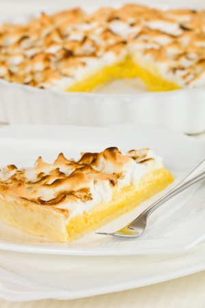 Citrus pie dessert  with meringue on the top. Very shallow depth of field. Stock Photo