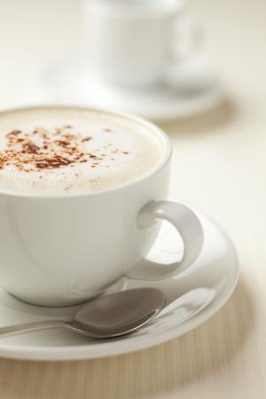 capuchino: Cappuccino caf� con cacao en polvo en la parte superior. Matiz marr�n.