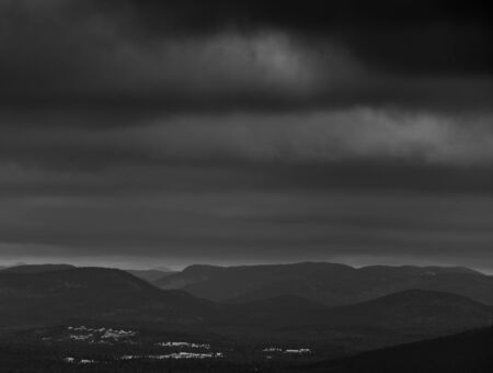 appalachian: Appalachian mountain view from North america Quebec Canada. Black and white low key photography.