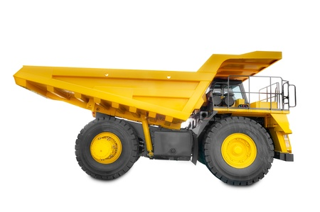 equipment: Large haul truck isolated on a white background.