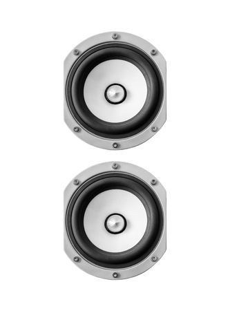 two party system: Sound speaker isolated on white background.