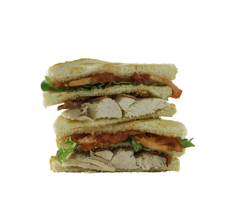 Chicken club sandwich isolated on a white background. Clipping path in the file. photo
