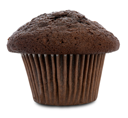 cupcakes isolated: Double chocolate muffin isolated on white with clipping path. Very shallow depth of field. Stock Photo