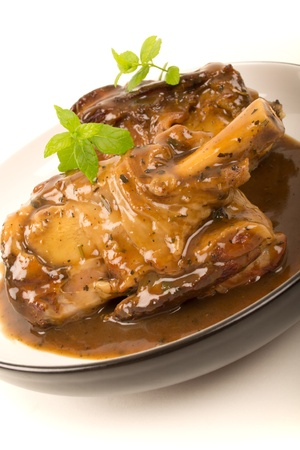 gravy: Braised Lamb Shank in Mint Gravy Stock Photo