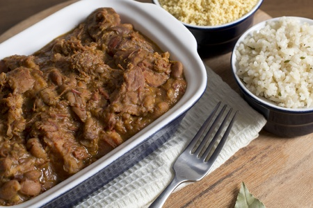 pinto beans: Feijoada, White Rice & Farofa Stock Photo
