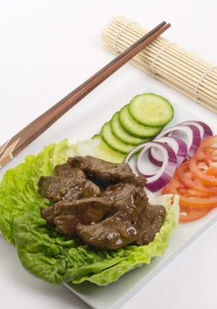 Loc Lac  - Shaking Beef  - Cambodian (Loc Lac)  Vietnamese (Bo Luc Lac) stir-fried beef salad photo