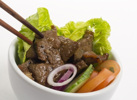 Loc Lac  - Shaking Beef: Cambodian (Loc Lac)  Vietnamese (Bo Luc Lac) stir-fried beef salad photo