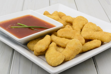 sweet and sour: Crispy Chicken & Sweet and Sour Dip - Oriental crispy chicken with a sweet and sourchilli dip.