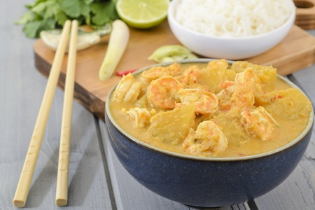 Udang Masak Lemak Nenas - Prawn   Pineapple Curry - Nyonya Cuisine  Malaysian prawn and pineapple in spicy coconut milk gravy   Reklamní fotografie