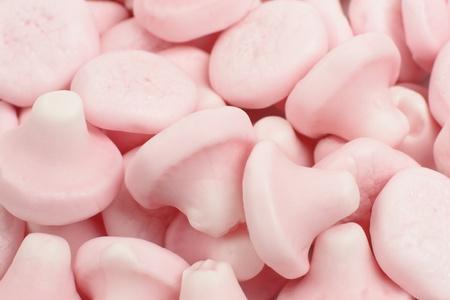 obesidad infantil: Setas de fresa - Mushroom dulces en forma de sabor a fresa close-up