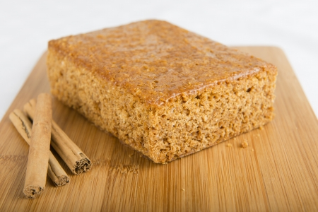 Parkin - Yorkshire parkin and cinnamon on a bamboo board  Bonfire feast  Stock Photo - 15532097