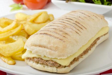Faire fondre le thon - fromage et le thon panini servi avec salade et frites