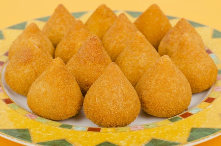 breadcrumbs: Coxinha de Galinha - Brazilian breaded and deep fried snack filled with shredded chicken