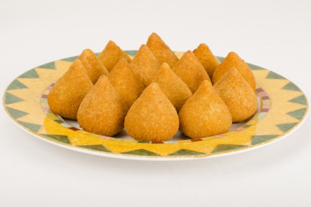 Coxinha de Galinha - Brazilian breaded and deep fried snack filled with shredded chicken