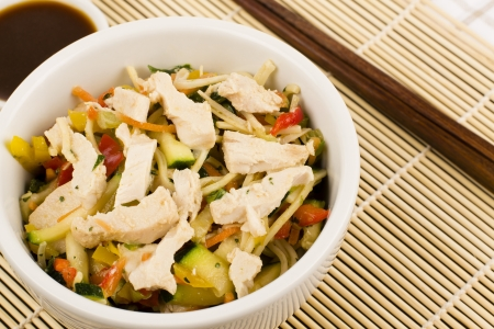 Chicken Teriyaki Noodles - Chicken noodle salad with teriyaki sauce  photo