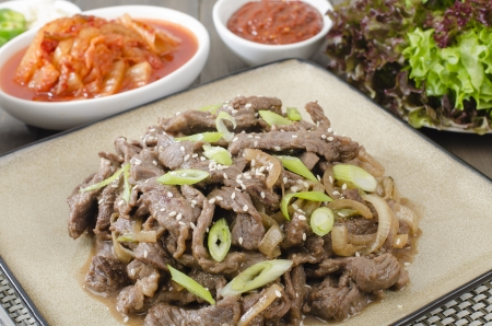 Beef Bulgogi - Korean marinated BBQ beef served with Kimchi and dips  photo