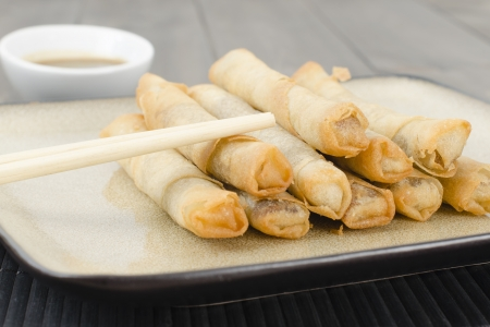 Duck Spring Rolls - Thin fried duck spring rolls served with hoisin sauce dip  Dim Sum Stock Photo - 15532120
