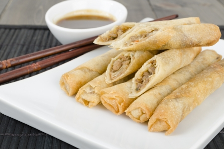 Duck Spring Rolls - Thin fried duck spring rolls served with hoisin sauce dip  Dim Sum Stock Photo - 15532127
