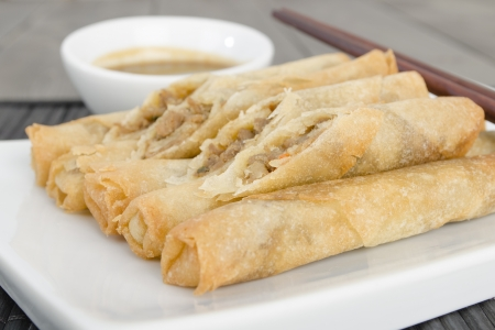 Duck Spring Rolls - Thin fried duck spring rolls served with hoisin sauce dip  Dim Sum Stock Photo - 15532129