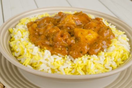 Chicken Bhuna   Bicolour Pilau Rice