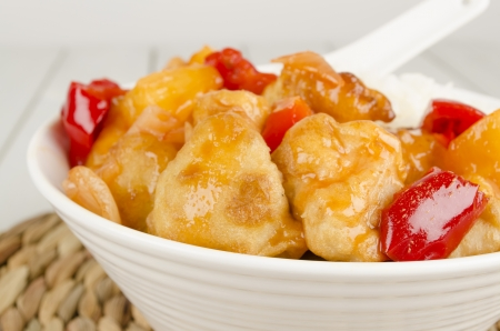 Sweet and Sour Chicken with pineapple and red bell peppers served with steamed rice Stock Photo - 15532168