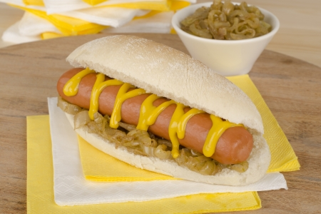 Simple Hot Dog served with yellow mustard and caramelized onions  photo