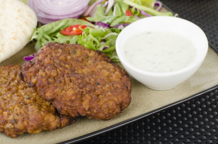 Shami Kebabs - A couple of spicy lamb kebab patties served with mint raita dip, red chillies, crunchy salad, pitta bread and raw red onions  Close up