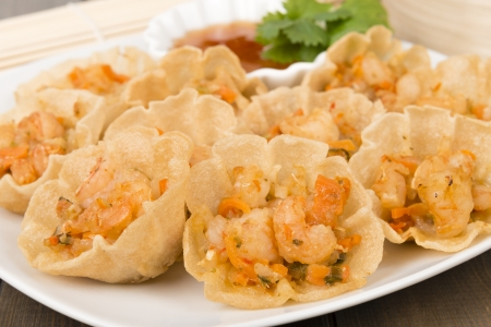 Thai style prawn and vegetable baskets with sweet chili sauce - Oriental party food  photo