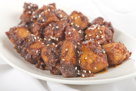 take out: Buldak   Fire Chicken - Korean extremely hot fried chicken  Typical take out and happy hour food  Stock Photo