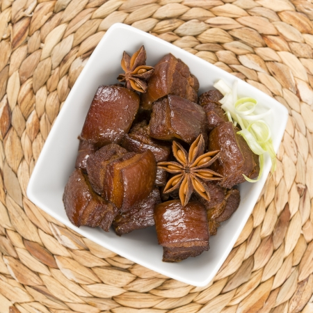 red braised: Hong Shao Rou  Red Cooked Pork  - Chinese pork belly caramelized and braised in soy sauce with star anise, cinnamon and chilies