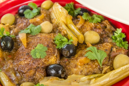 Chicken Tagine - Moroccan chicken tagine with olives, preserved lemon and fennel Stock Photo - 18036281