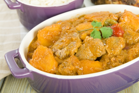 bonnet up: Lamb and sweet potato peanut stew served with white rice  Caribbean and West African dish   Stock Photo