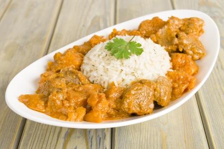 s��kartoffel: Lamb und S��kartoffel Erdnuss-Eintopf mit Reis Karibik und Westafrika Gericht serviert Lizenzfreie Bilder
