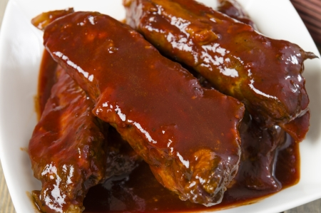 Char Siu - Chinese sticky pork spare ribs roasted with a sweet and savoury sauce   photo