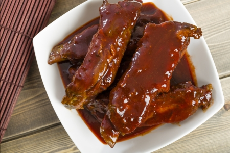 Char Siu - Chinese sticky pork spare ribs roasted with a sweet and savoury sauce  Overhead shot   Stock Photo - 21928333