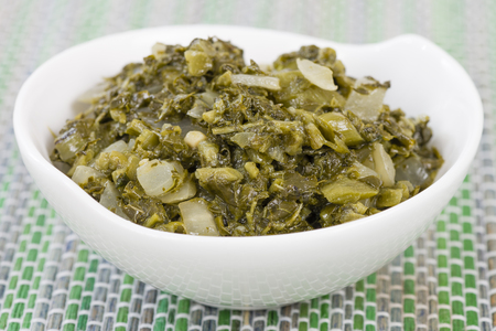 jamaican food: Callaloo - Caribbean side dish made with amaranth.